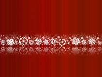 White Snowflakes On Red With Reflections Stock Photo