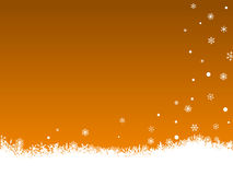 White SnowFlakes on Orange Royalty Free Stock Photography