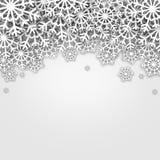 Christmas illustration,. White snowflakes over grey  background Stock Photos