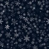 White snowflakes pattern on black Christmas. White snowflakes pattern on black Christmas background. Chaotic scattered white snowflakes. Radiant Christmas Vector Illustration