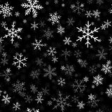 White snowflakes pattern on black Christmas. White snowflakes pattern on black Christmas background. Chaotic scattered white snowflakes. Sublime Christmas Vector Illustration