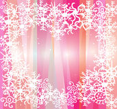 White snowflakes on pink background Royalty Free Stock Photo