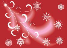 White snowflakes on red background Royalty Free Stock Images