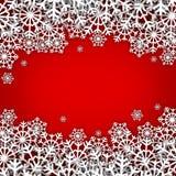 Christmas illustration,. White snowflakes on red background Stock Photo