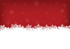 White snowflakes and red background. White snowflakes with stars and snowflakes on red background vector illustration