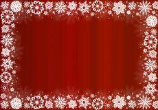 White snowflakes on red - christmas frame Royalty Free Stock Photo