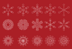 White snowflakes red vector. White snowflakes on red background - vector Royalty Free Illustration