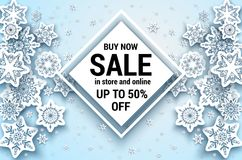 White Snowflakes sale banner Stock Images