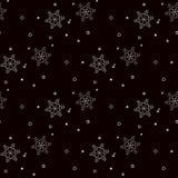 White snowflakes seamless pattern on black Christmas background. Eps10 Stock Illustration