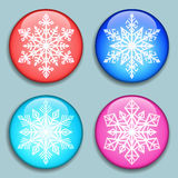 White Snowflakes. Snowflakes 3D Buttons Royalty Free Stock Images
