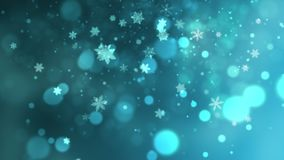 White snowflakes, stars and abstract bokeh particles falling stock illustration