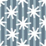 White snowflakes on striped blue background. Winter seamless pattern. royalty free illustration