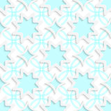 White snowflakes and white rhombuses on flat blue ornament seaml. Abstract 3d seamless background. White snowflakes and white rhombuses on flat blue ornament Stock Photography