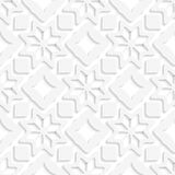 White snowflakes and white squares seamless. Abstract 3d seamless background. White snowflakes and white squares with out of paper effect Royalty Free Stock Photography