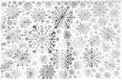 White snowflakes winter background light grey. White snowflakes holiday winter background with snowflakes of different sizes light grey royalty free stock photo