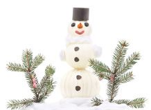 White snowman made of cloth. Stock Photos