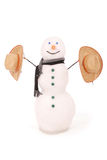 White snowman with scarf and two cowboy hat. Stock Photography