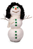 White snowman whith green buttons and carrot. (Clipping path) Stock Photo
