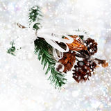 White snowy Christmas decoration Stock Images