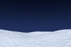 White snowy field under night sky with stars. White snowy field under bright clear winter night north sky with bright stars, winter snow background 3d Stock Photos