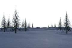 White snowy landscape with dead trees. On white background Royalty Free Stock Photography