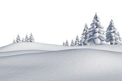White snowy landscape with fir trees. On white background Stock Photos