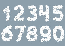 White Snowy numbers Stock Images