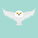 White Snowy owl. Flying bird with big wings. Yellow eyes. Arctic Polar animal collection. Baby education. Flat design. Isolated. B. Lue sky background. Vector Stock Photo