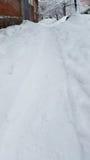 White snowy road in winter Ukraine Stock Image
