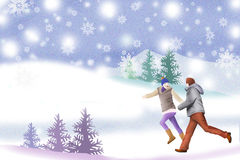 White snowy winter hills and couples - Graphic painting texture Stock Image