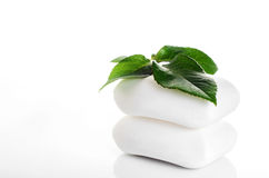 White soap with green leaf Royalty Free Stock Photo