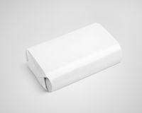 White soap wrap box package on gray Stock Photo