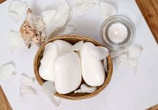 White soaps with seashell Royalty Free Stock Images