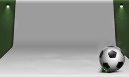 White soccer backdrop. With soccer ball and spotlight Stock Photos