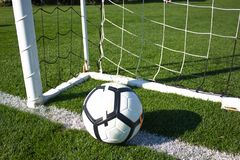 White soccer ball in the gate on a green grassy football field Royalty Free Stock Photos