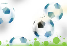 White soccer balls green dots grass Royalty Free Stock Photography