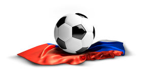 White soccer football ball on russian flag. isolated 3d Royalty Free Stock Image