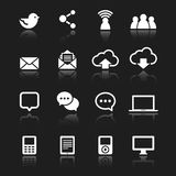 White Social Media Icons. Set of social media icons - white icons with reflections  on a dark gray background.  Vector eps 10 file Royalty Free Stock Image
