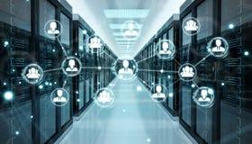 Social network over server room data center 3D rendering. White social network over server room data center interior 3D rendering Stock Images