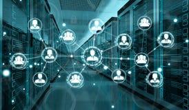 Social network over server room data center 3D rendering. White social network over server room data center interior 3D rendering Royalty Free Stock Images