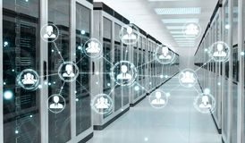 Social network over server room data center 3D rendering Royalty Free Stock Photography