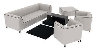 White Sofa 3D Rendering Stock Photography