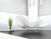White sofa. Place for rest in apartment 3 d image Royalty Free Stock Photos
