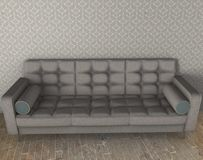 White sofa with blue pattern 3d illustration on parquet floor Stock Images
