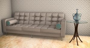 White sofa with blue pattern 3d illustration on parquet floor Stock Image