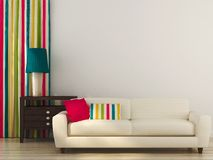 White sofa with colorful decor Royalty Free Stock Images