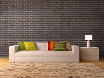 White sofa with colour pillows Stock Photography