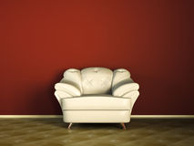 White sofa or couch. White couch in red room with wooden tiles, leather finish vector illustration