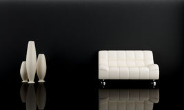 White sofa in dark room Royalty Free Stock Photos