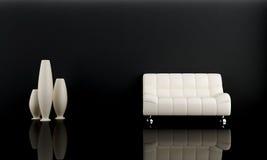 White sofa in dark room Royalty Free Stock Photos